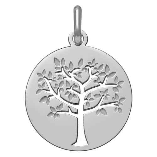 Photo de Médaille Arbre de vie printanier ajourée - Or blanc 18ct