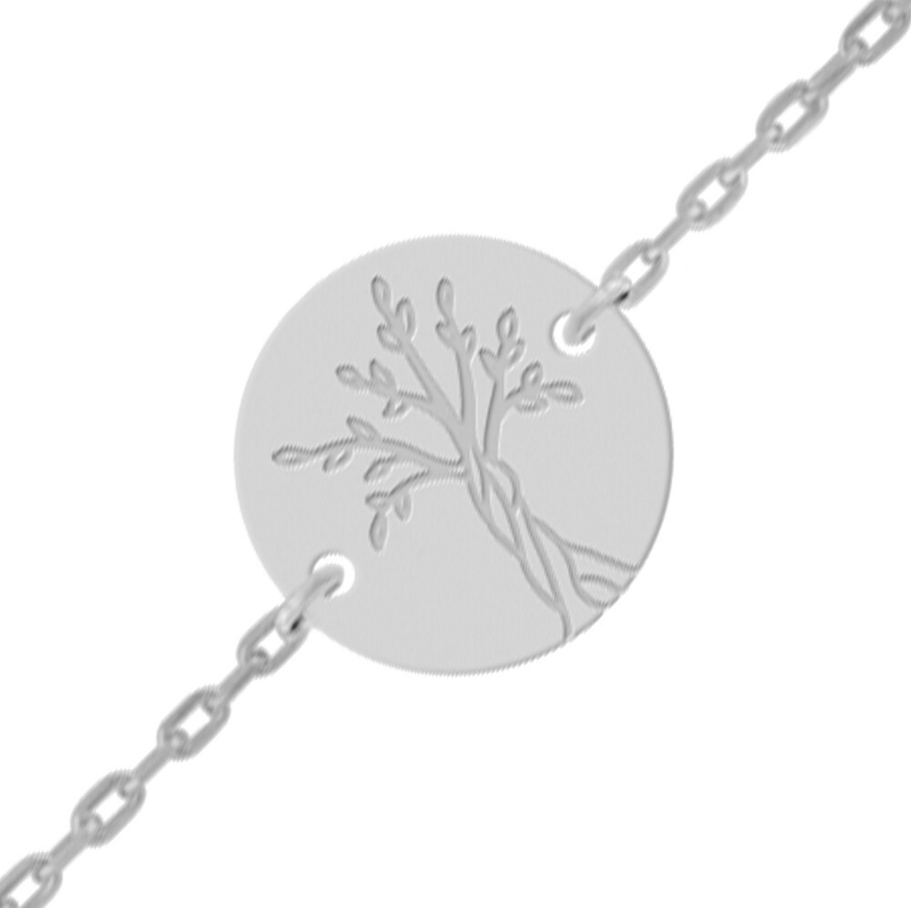 Photo de Gourmette bébé arbre de vie - Or blanc 18ct
