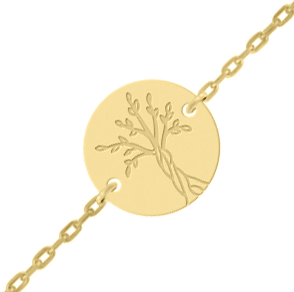 Photo de Gourmette bébé arbre de vie - Or jaune 18ct