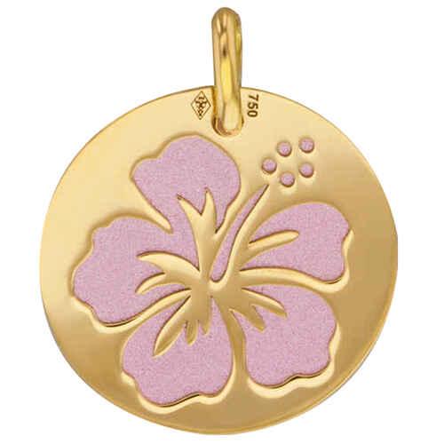 Photo de Médaille hibiscus rose - Or jaune 18ct & acier
