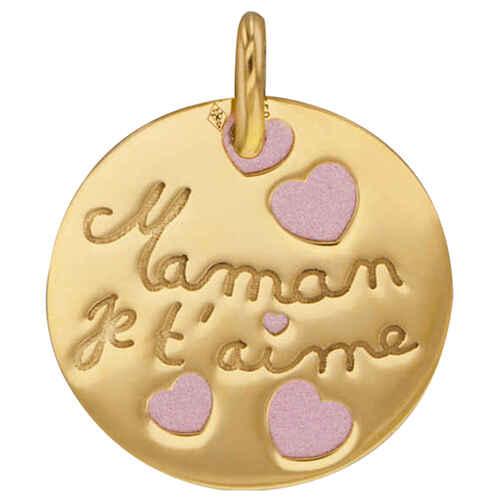 Photo de Médaille maman je t aime rose - Or jaune 18ct & acier