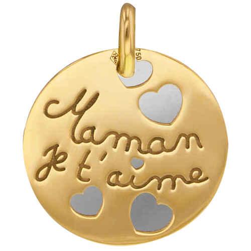 Photo de Médaille maman je t aime - Or jaune 18ct & acier