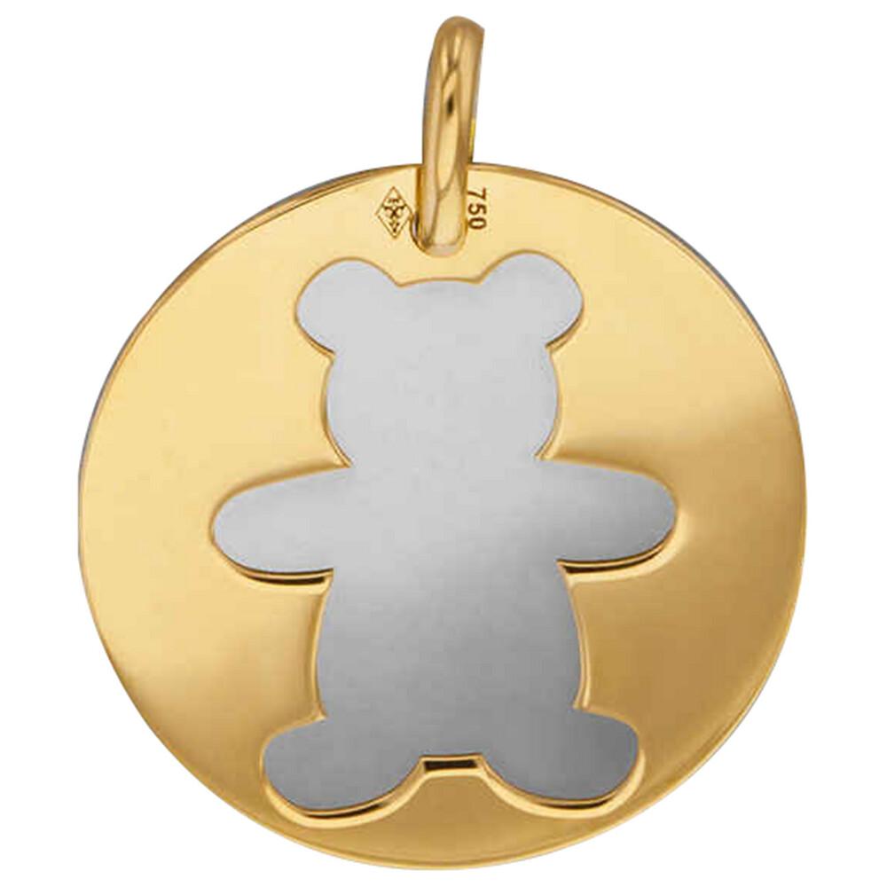 Photo de Médaille ourson - Or jaune 18ct & acier