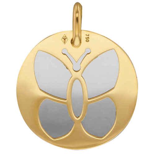 Photo de Médaille papillon - Or jaune 18ct & acier