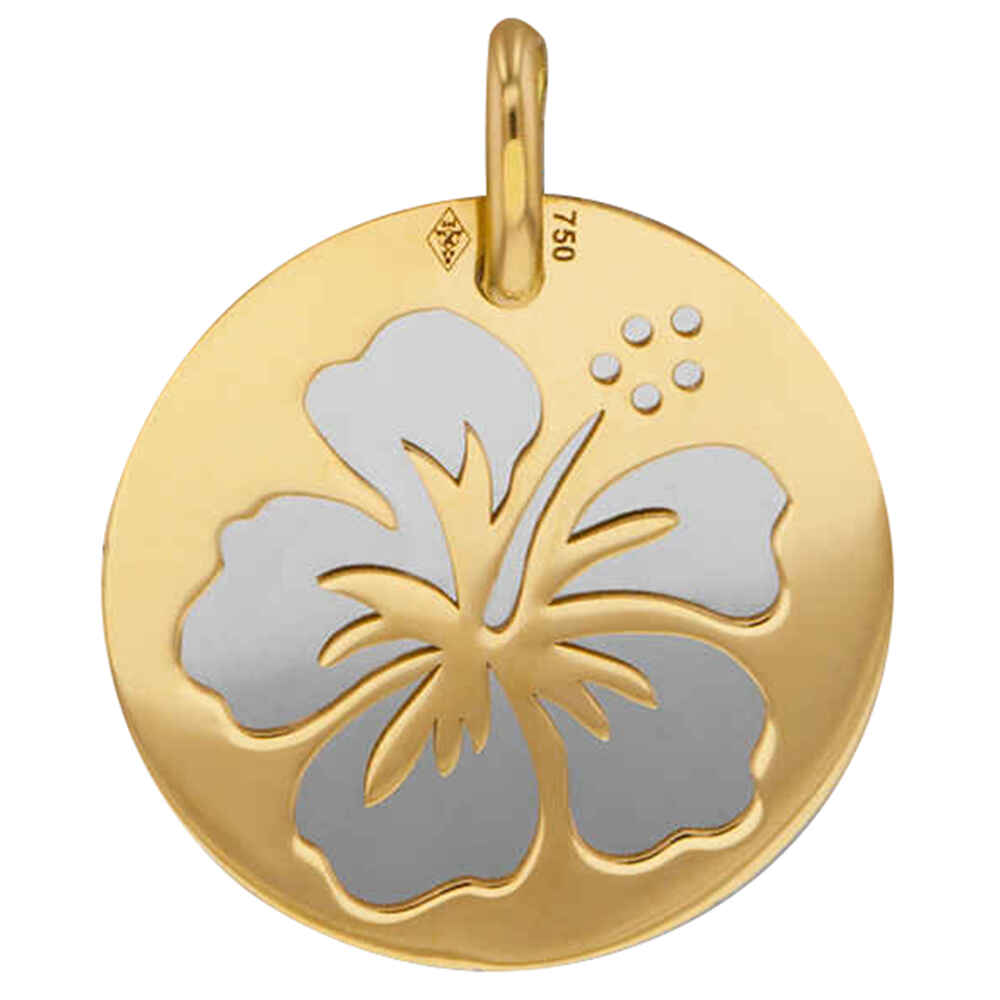 Photo de Médaille hibiscus - Or jaune 18ct & acier