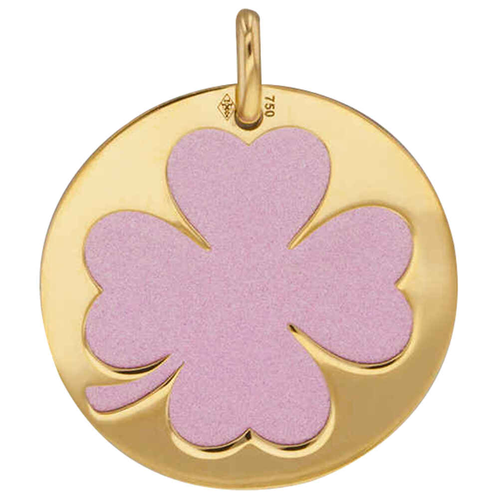Photo de Médaille trefle rose - Or jaune 18ct & acier