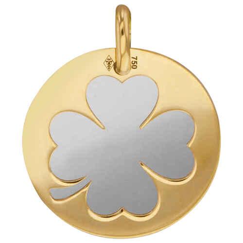 Photo de Médaille trefle - Or jaune 18ct & acier