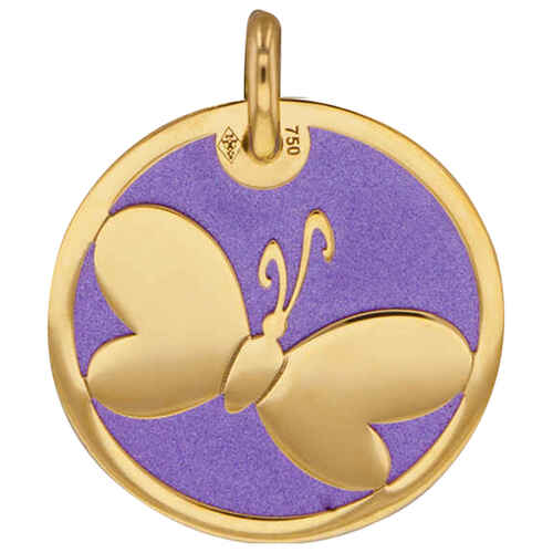 Photo de Médaille papillon violet - Or jaune 18ct & acier