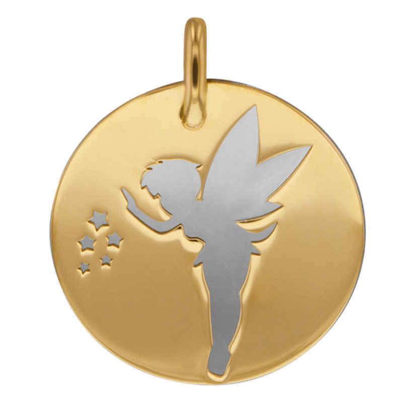Photo de Médaille fée grise - Or jaune 18ct & acier