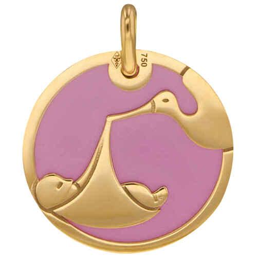 Photo de Médaille cigogne rose - Or jaune 18ct & acier