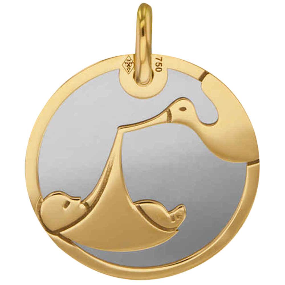 Photo de Médaille cigogne et bébé - Or jaune 18ct & acier