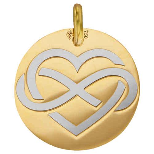 Photo de Médaille coeur - Or jaune 18ct & acier