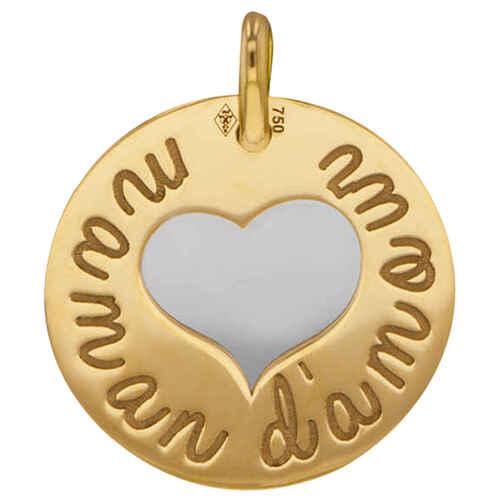 Photo de Médaille coeur maman d'amour - Or jaune 18ct & acier