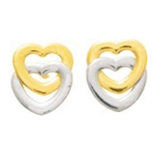 Photo de Boucles d'oreilles Coeurs - Vis - Or jaune et or blanc 9ct