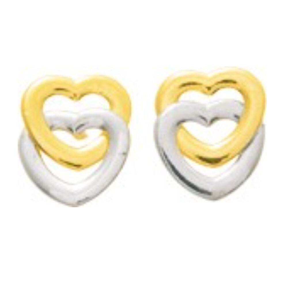 Photo de Boucles d'oreilles Coeurs - Vis - Or jaune et or blanc 18ct