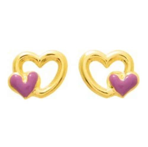 Photo de Boucles d'oreilles coeurs - Vis - Or jaune 9ct