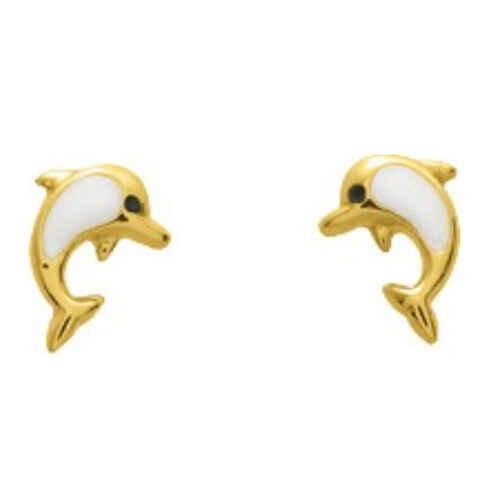 Photo de Boucles d'oreilles dauphins - Vis - Or jaune 18ct