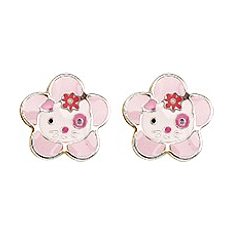Photo de Boucles d'oreilles chats fleurs - Vis - Or jaune 9ct