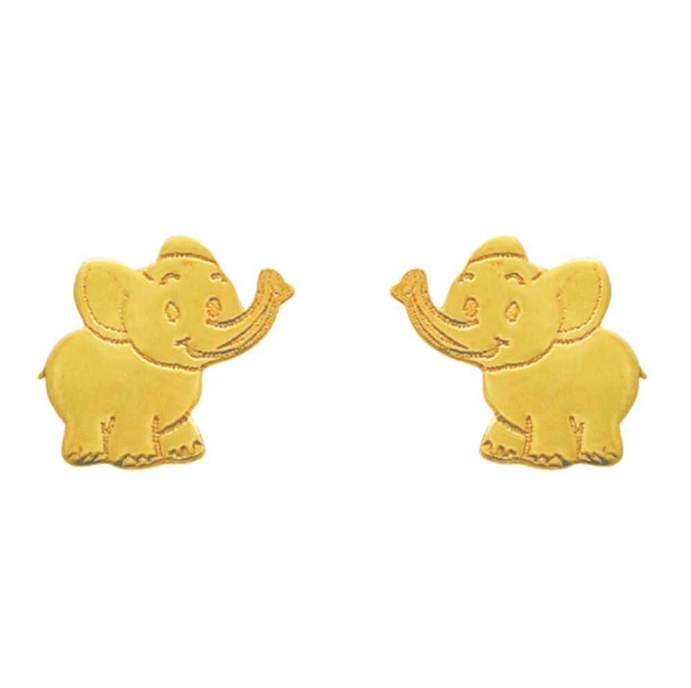 Photo de Boucles d'oreilles éléphants - Vis - Or jaune 9ct