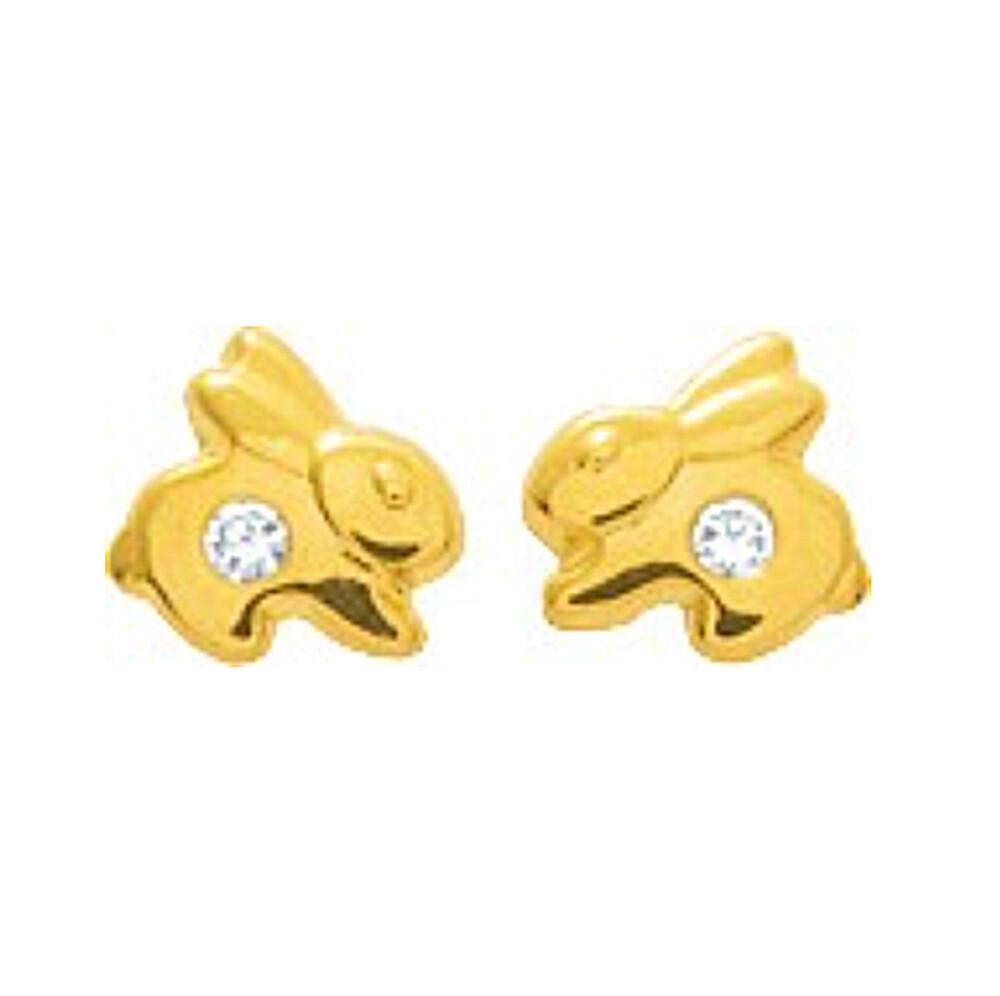 Photo de Boucles d'oreilles Lapin - Puces - Or jaune 18ct