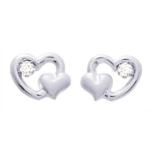 Photo de Boucles d'oreilles coeurs ajourés  - Puces - Or blanc 9ct