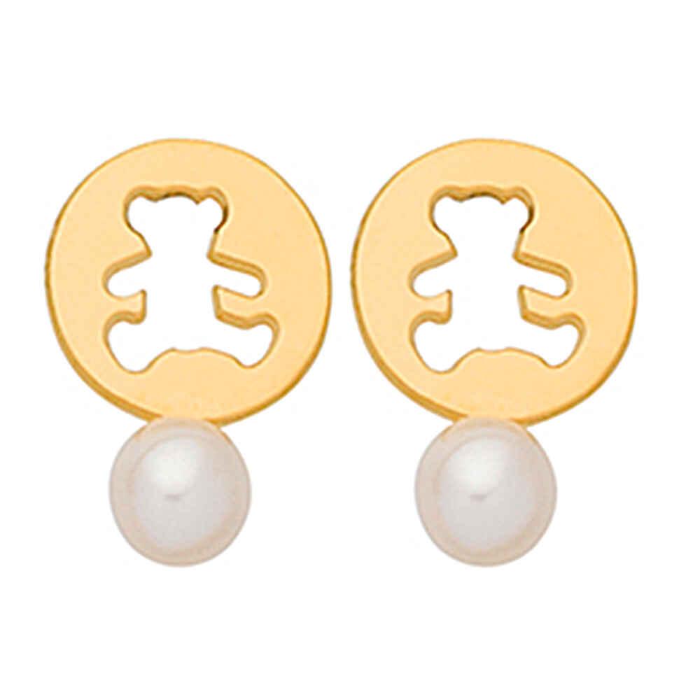 Photo de Boucle d'oreilles perle LuluCastagnette - Or jaune 9ct