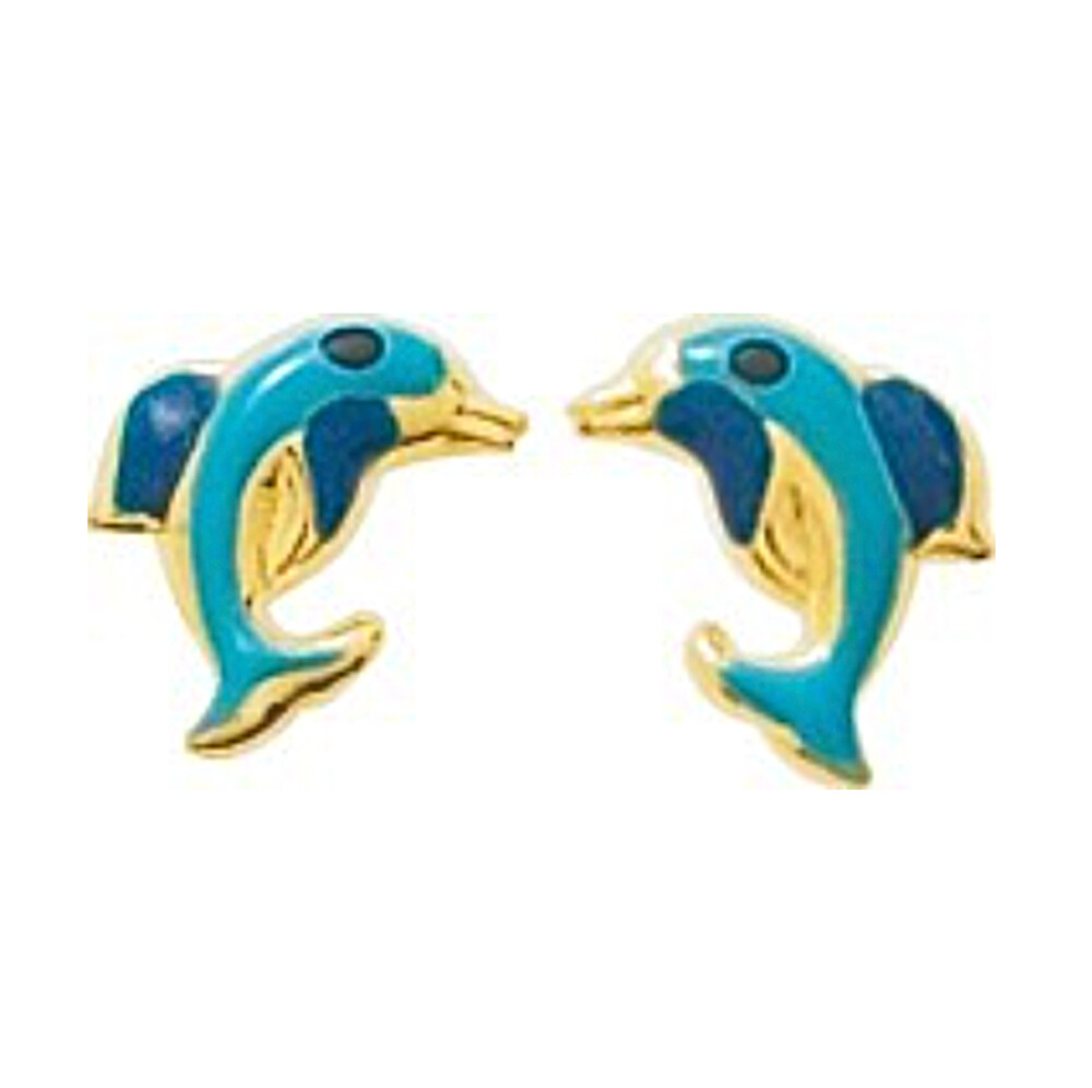 Photo de Boucles d'oreilles Dauphins - Vis - Or jaune 9ct