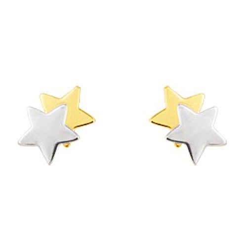 Photo de Boucles d'oreilles Etoiles - Puces - Or jaune et or blanc 9ct