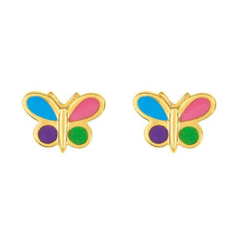 Photo de Boucles d'oreilles papillons multicolores - Vis - Or jaune 18ct
