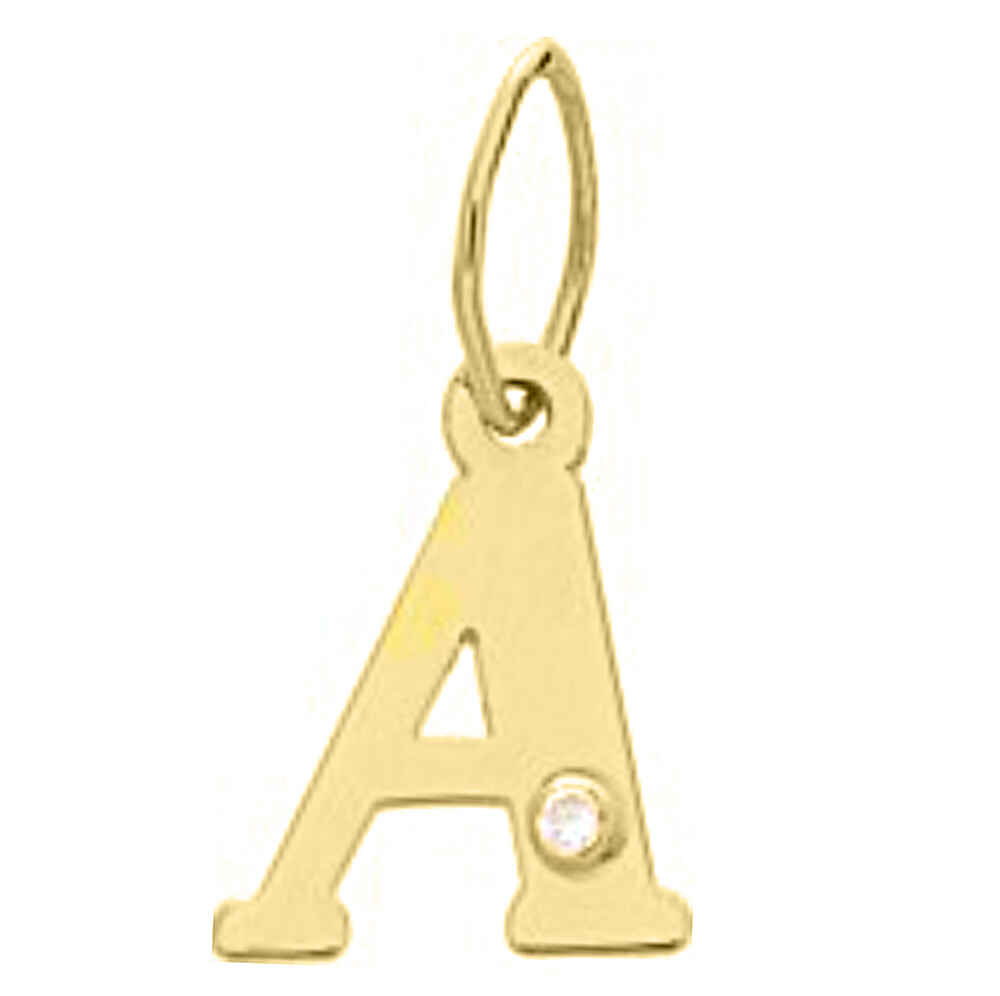 Photo de Pendentif initiale diamant - Or jaune 18ct