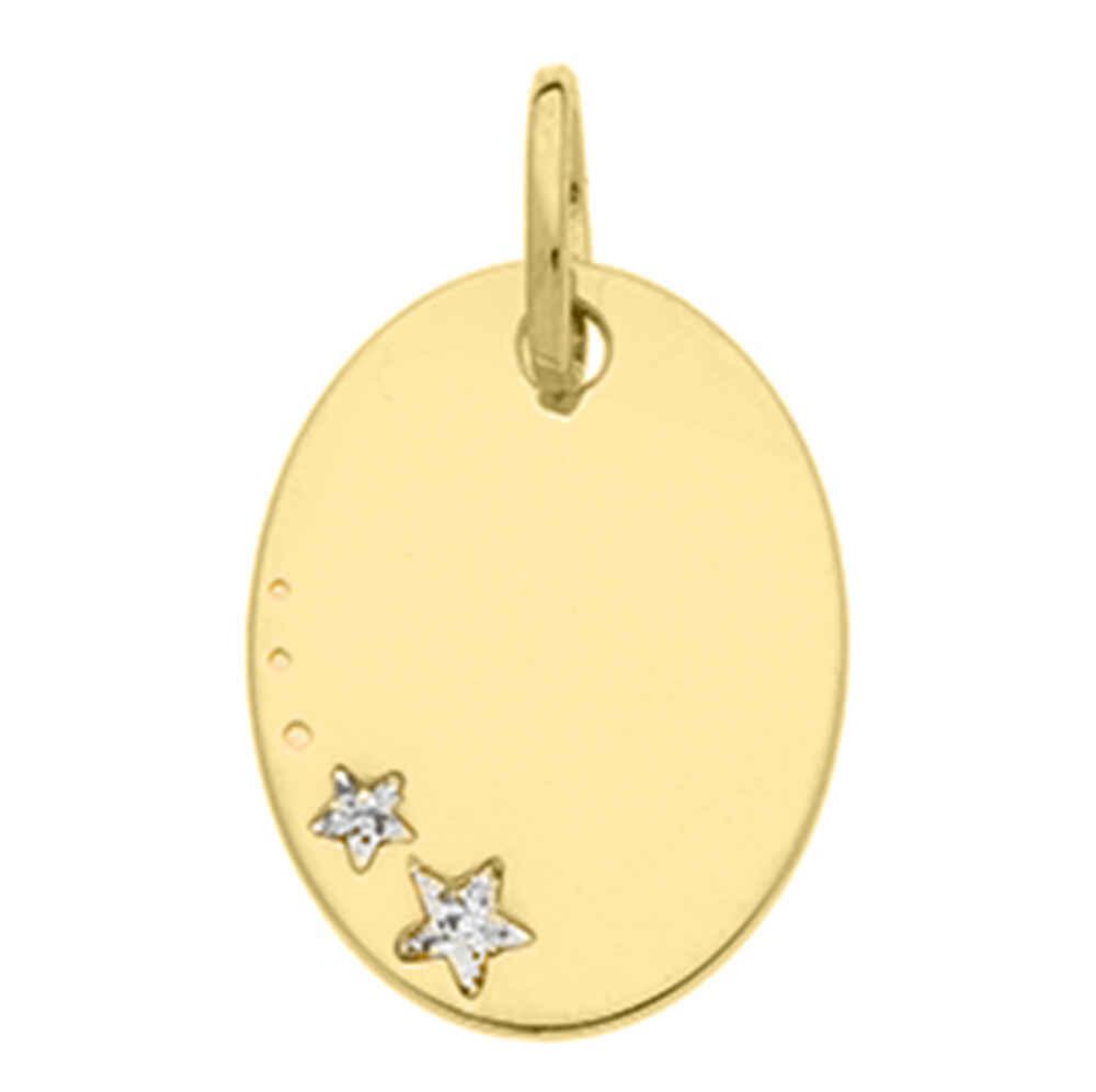 Photo de Médaille ovale étoiles - Or jaune 18ct