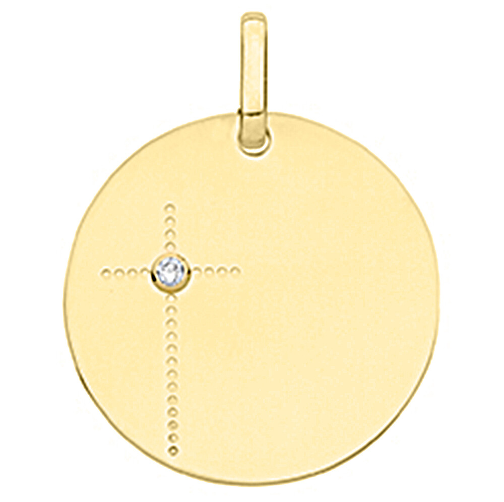 Photo de Médaille croix - diamant & or jaune 18ct