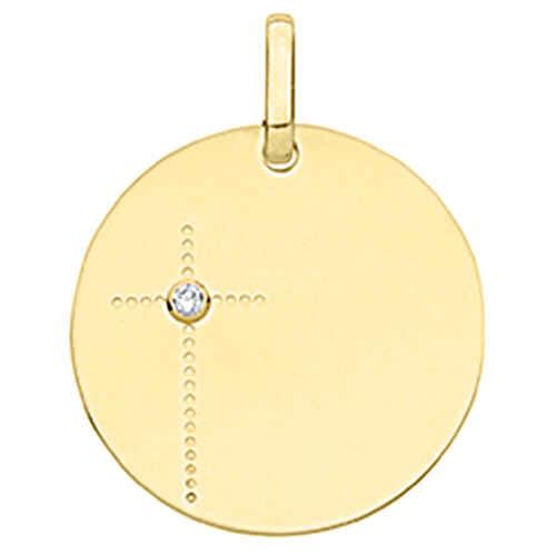 Photo de Médaille croix - diamant & or jaune 18ct