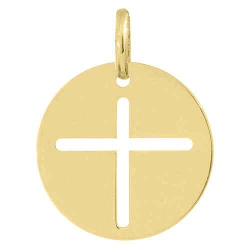 Photo de Médaille croix ajourée - Or jaune 18ct