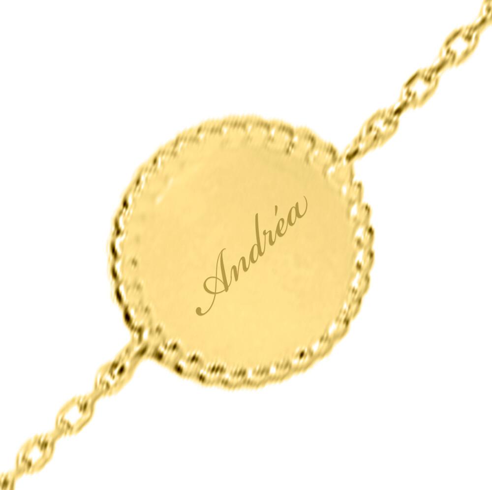 Photo de Bracelet médaille perlée - plaqué or