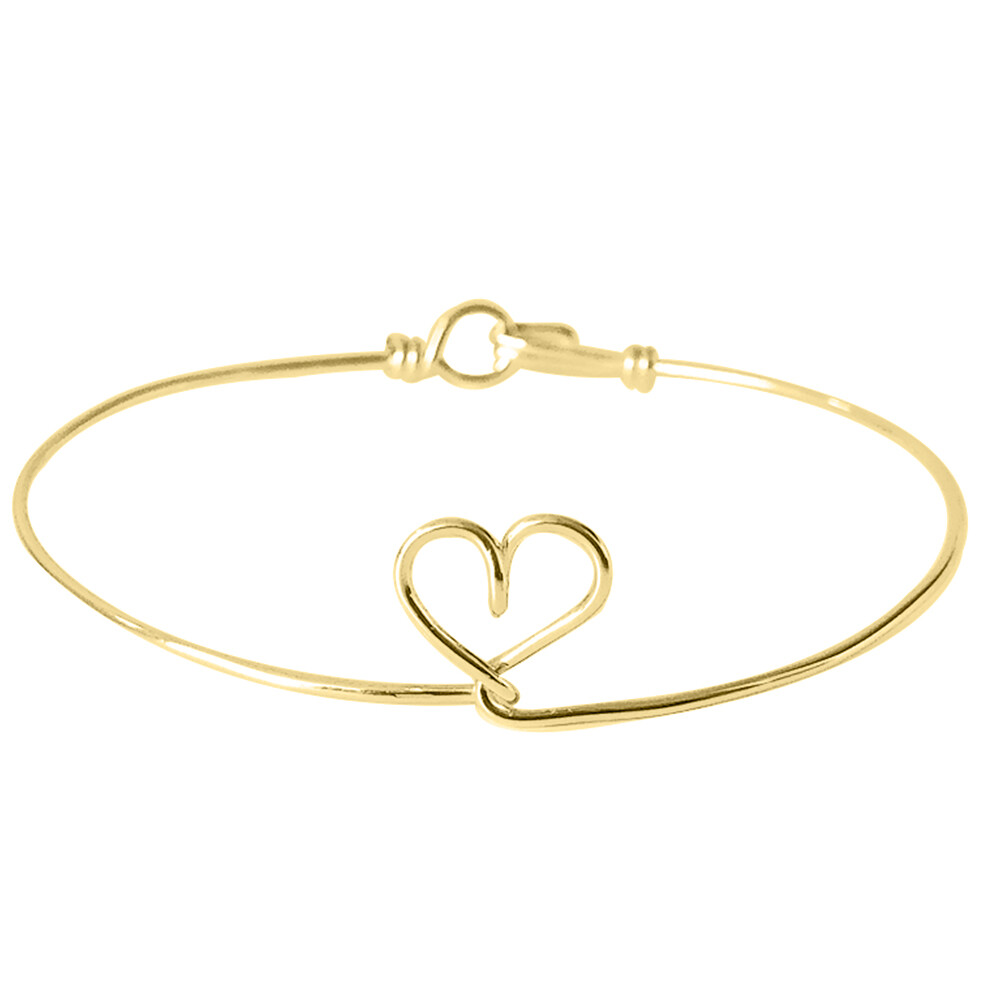 Photo de Bracelet jonc coeur - gold filled 14ct