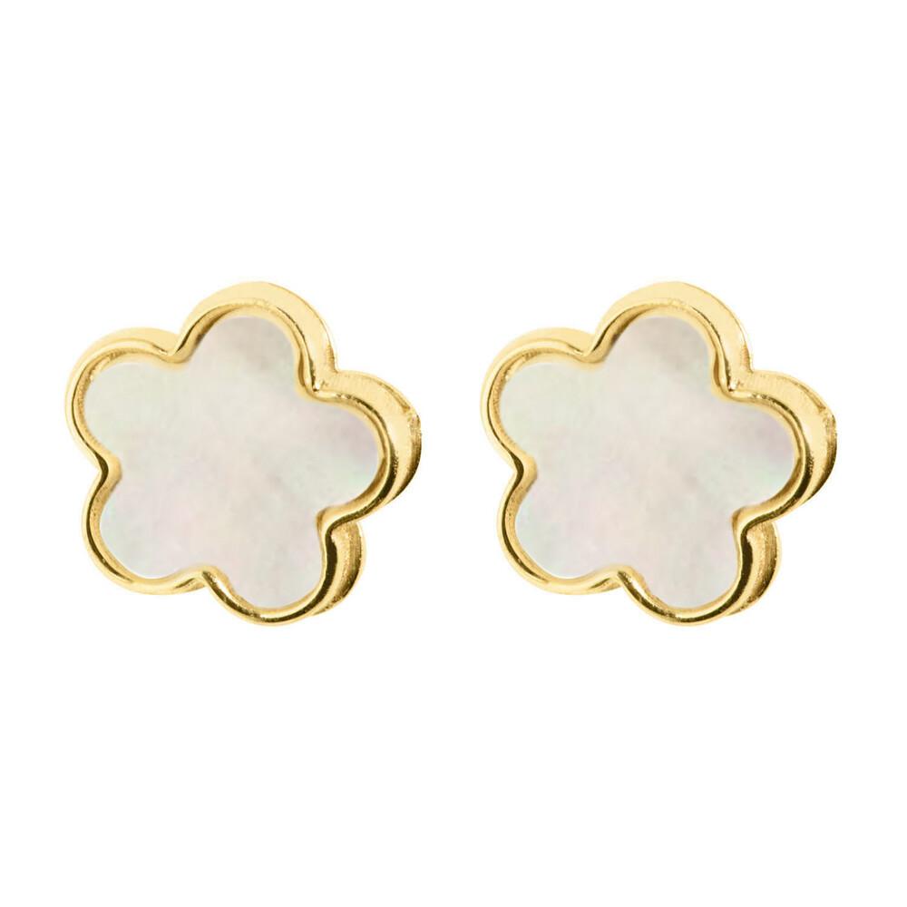 Photo de Boucles d'oreilles fleurs - Vis - Or jaune 9ct & nacre