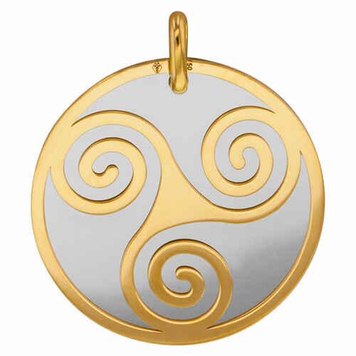 Photo de Médaille triskell - Or jaune 18ct & acier