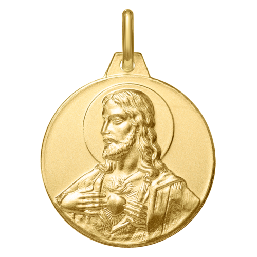 Photo de Médaille Christ Sacré Coeur - Or jaune 18ct