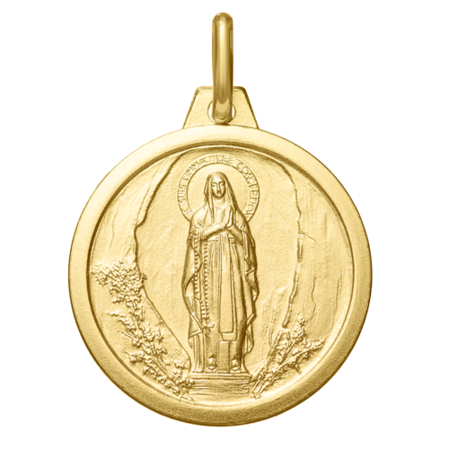 Photo de Médaille Vierge de Lourdes - Or jaune 18ct