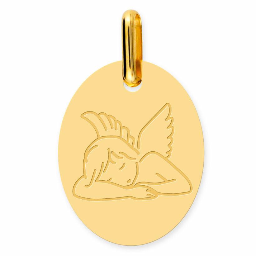 Photo de Médaille Ange dormeur ovale (or jaune 18ct)