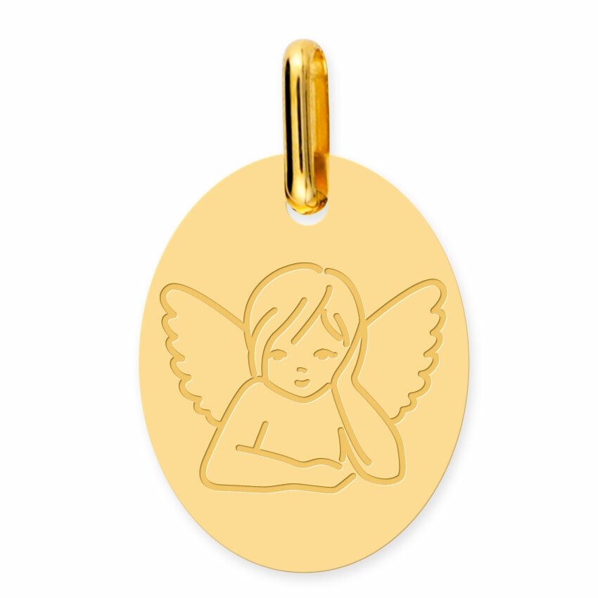 Photo de Médaille Ange pensif ovale (or jaune 18ct)