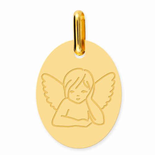 Photo de Médaille Ange pensif ovale - Or jaune 9ct