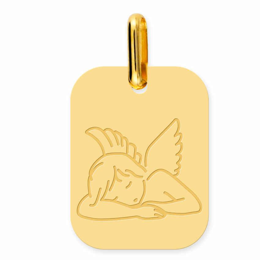 Photo de Médaille Ange rectangulaire - Or jaune 9ct