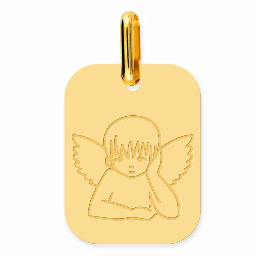 Photo de Médaille Ange rectangulaire (or jaune 18ct)