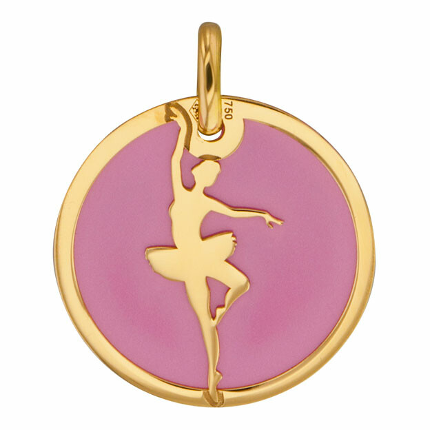 Photo de Médaille danseuse rose - Or jaune 18ct & acier
