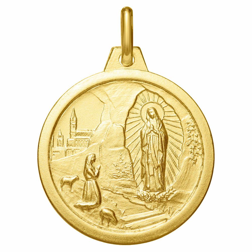 Photo de Médaille Vierge de Lourdes - Or jaune 18ct