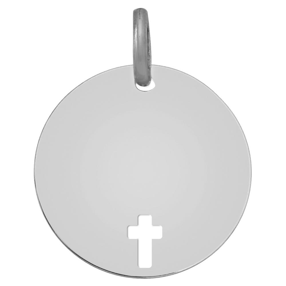 Photo de Médaille Croix ajourée - Or blanc 9ct