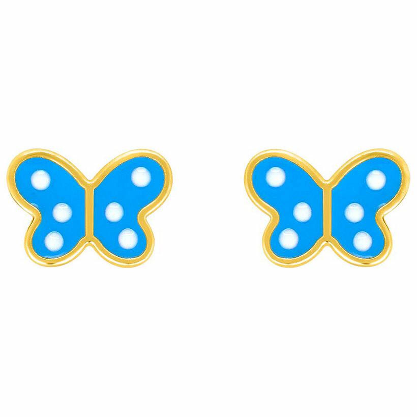Photo de Boucles d'oreilles papillon bleus - Vis - Or jaune 18ct