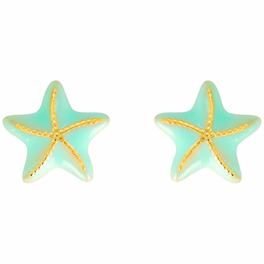 Photo de Boucles d'oreilles étoile de mer verte - Vis - Or jaune 18ct